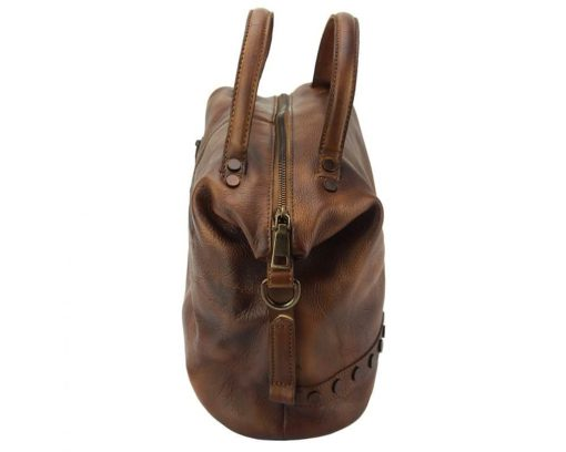 dark brown handbag in genuine leather Melina women with rivets