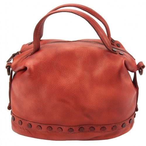 light red handbag with rivets in vintage leather Aliona for women