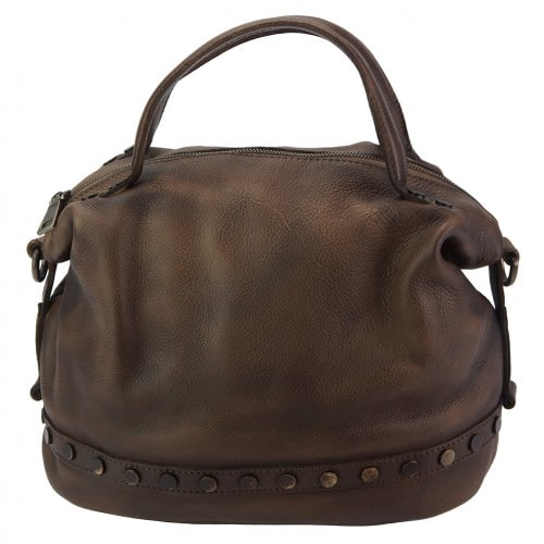 dark brown handbag with rivets in vintage leather Aliona for women