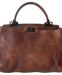 Single handle genuine leather handbag Evania Colour brown photo for women