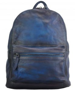 buy italian Backpack in genuine retro vintage calfskin leather Michele Colour dark blue for men