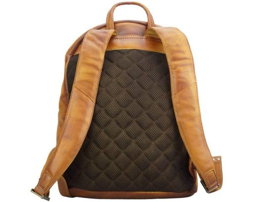tan backpack in retro real leather Gervaise from italy for men