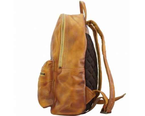 tan backpack in retro real leather Gervaise woman