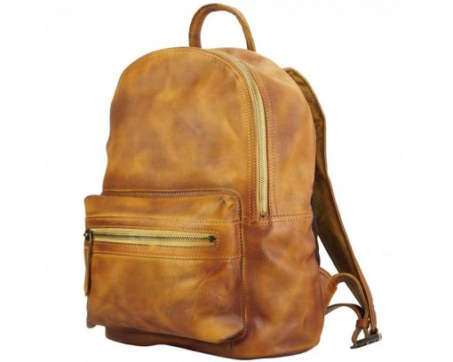 tan backpack in vintage retro real leather Gervaise man