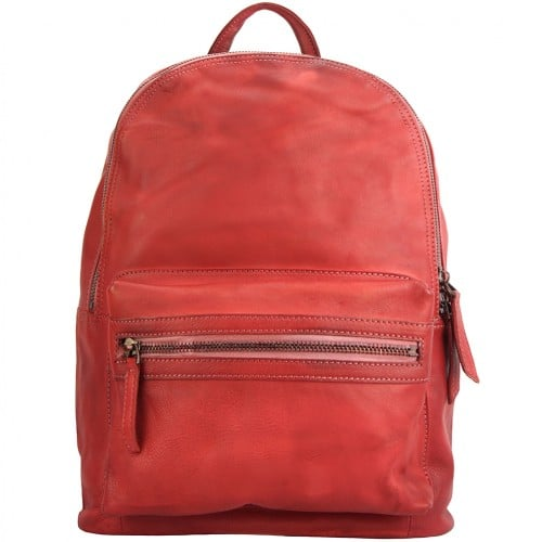 buy italian Backpack in genuine retro vintage calfskin leather Michele Colour Light red woman