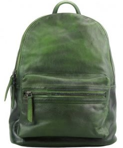 buy italian Backpack in genuine retro vintage calfskin leather Michele Colour dark green for woman