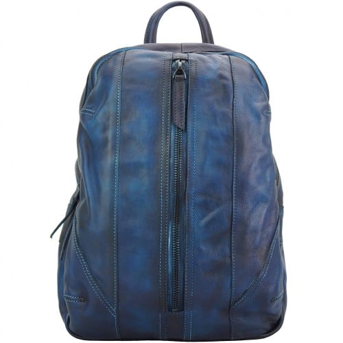 buy italian Backpack in genuine retro vintage calfskin leather Paolo Colour dark blue man