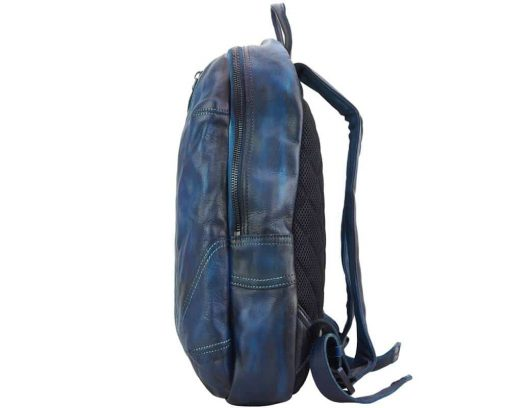 dark blue backpack in vintage retro leather Gervaise woman
