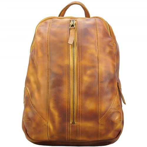 buy italian Backpack in genuine retro vintage calfskin leather Paolo Colour tan woman
