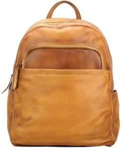buy Backpack in genuine retro vintage calfskin Bruno Color tan mans