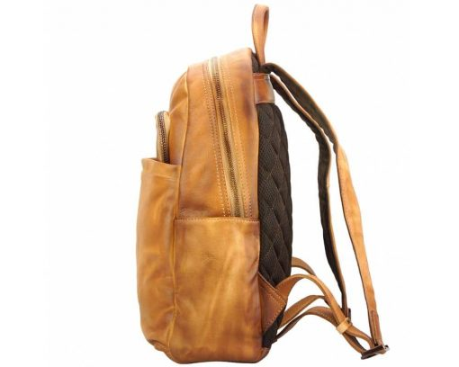 tan backpack in vintage retro leather jasmin free worldwide delivery man