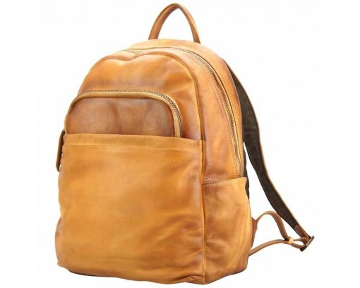 tan backpack in vintage retro leather Irma free worldwide delivery unisex