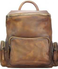 Backpack in genuine retro vintage calfskin Domenico Colour brown mans