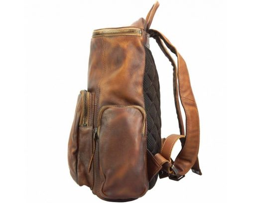 brown backpack in vintage retro leather Irma free worldwide delivery mans