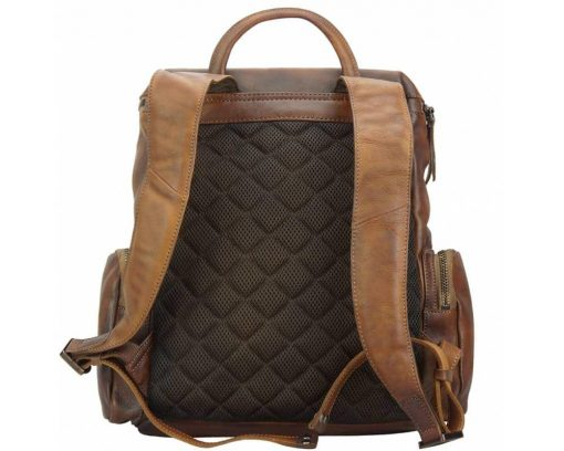 brown backpack in vintage leather Irma free worldwide delivery for women