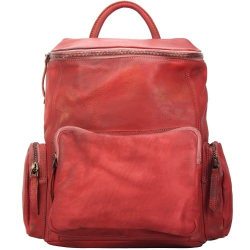 Backpack in genuine retro vintage calfskin Domenico Colour light red woman