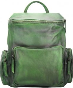 Backpack in genuine retro vintage calfskin Domenico Colour Dark green mans