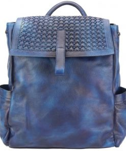 dark blue backpack in vintage calfskin woven leather Pino for women