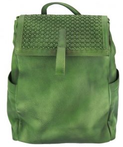 dark green backpack in vintage calfskin woven leather Pino womans