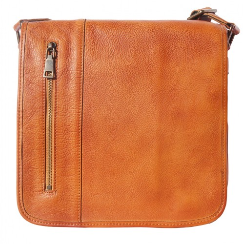 buy italian Messenger bag in retro vintage genuine leather Ilario Colour tan for man