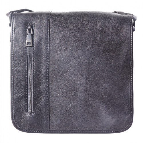 buy italian Messenger bag in retro vintage genuine leather Ilario Colour black for men
