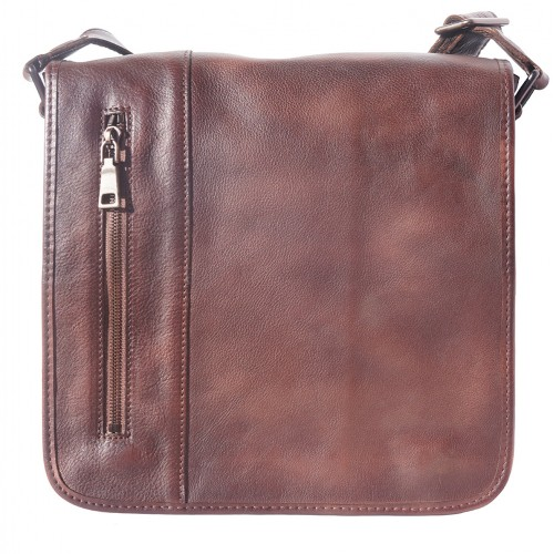 buy italian Messenger bag in retro vintage genuine leather Ilario Colour brown for man