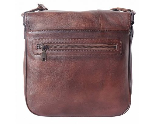 dark brown messenger bag in vintage retro leather Georgiana man