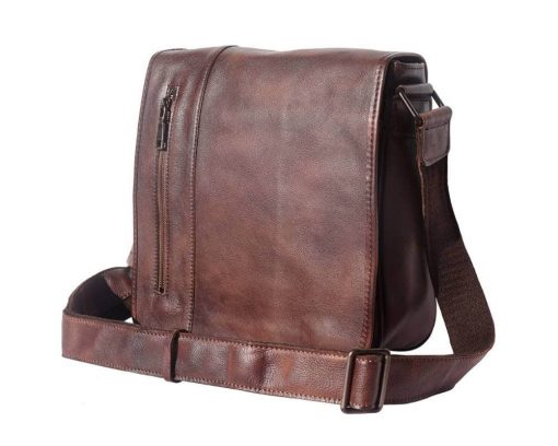 dark brown messenger bag in vintage leather Georgiana man