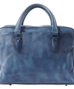 buy Unisex briefcase business bag in genuine retro vintage leather Oliviero Colour dark blue for men