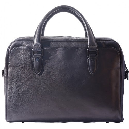 buy Unisex briefcase business bag in genuine retro vintage leather Oliviero Colour black from italy