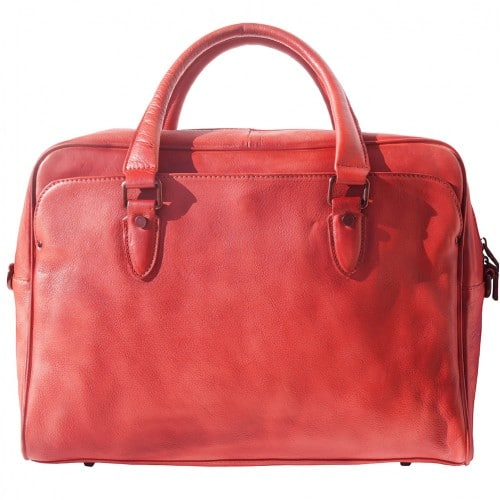 buy Unisex briefcase business bag in genuine retro vintage leather Oliviero Colour light red from italy