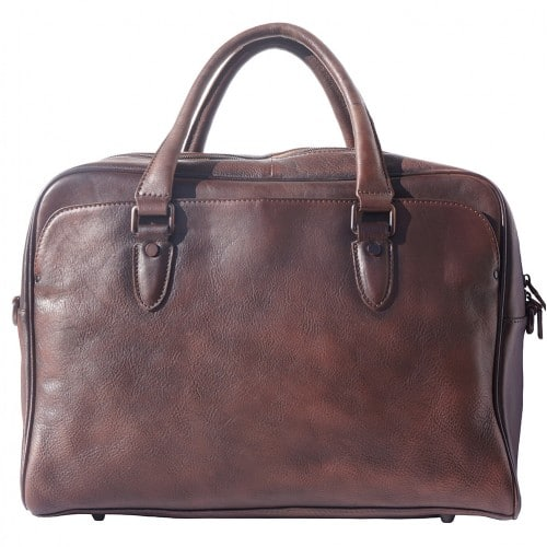 buy Unisex briefcase business bag in genuine retro vintage leather Oliviero Colour Dark Brown from italy