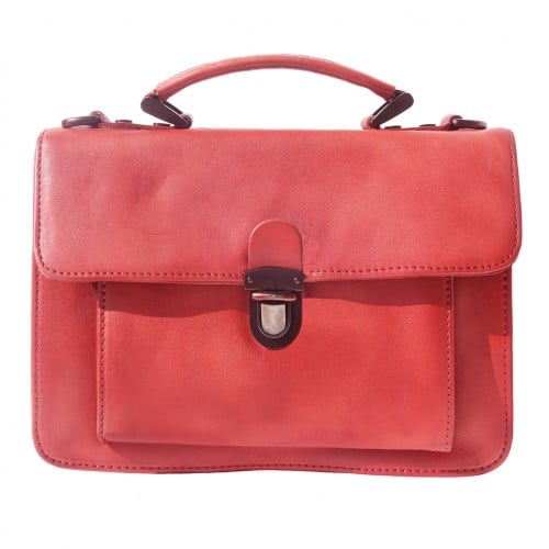 buy italian Mini genuine retro vintage leather briefcase business bag Odessa Colour light red for woman