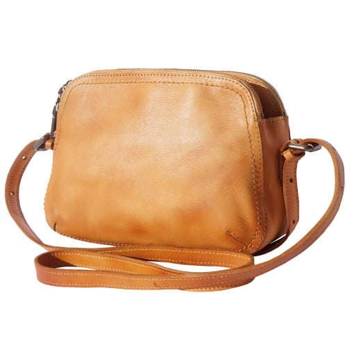 buy italian Cross body bag Laura in genuine retro vintage calf leather Colour tan for women