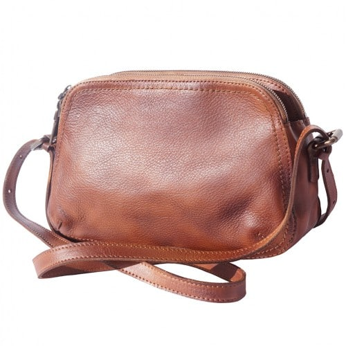 buy italian Cross body bag Laura in genuine retro vintage calf leather Colour brown for women