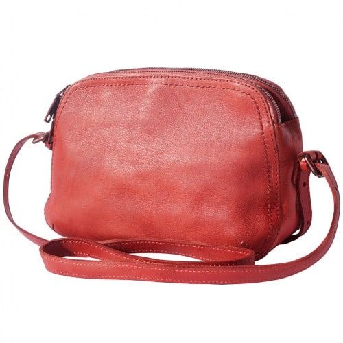 buy italian Cross body bag Laura in genuine retro vintage calf leather Colour light red for women