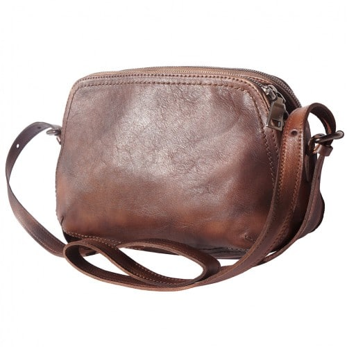 buy italian Cross body bag Laura in genuine retro vintage calf leather Colour dark brown for women