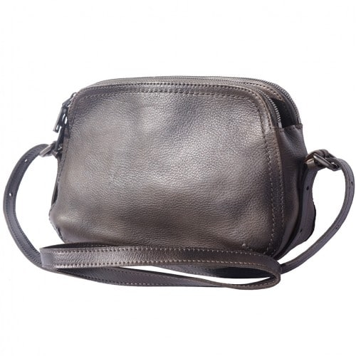 buy italian Cross body bag Laura in genuine retro vintage calf leather Colour Ebony for women