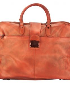 light red briefcase in vintage genuine leather Cristiano man
