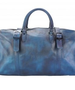 dark blue travel bag in genuine vintage leather Ettore man