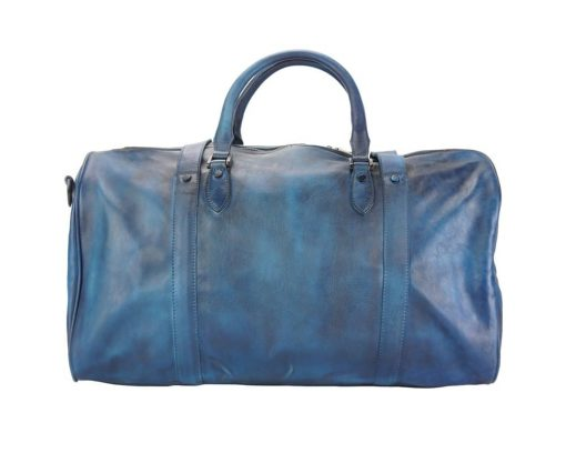 dark blue travel bag in genuine soft vintage retro leather Laurentius from italy man