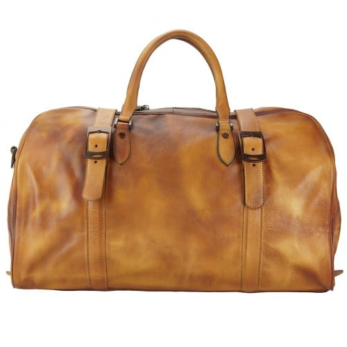 tan travel bag in genuine vintage leather Ettore for man