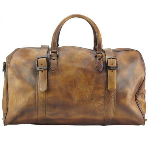 brown travel bag in genuine vintage leather Ettore woman