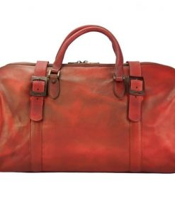 light red travel bag in genuine vintage leather Ettore men