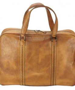 tan travel bag in vintage leather Costantino men