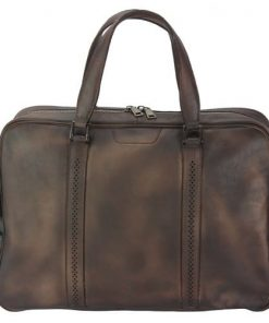 dark brown travel bag in vintage leather Costantino women