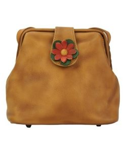buy italian Cross body bag with flower Wanda Colour tan for woman