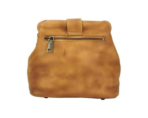 tan bag with flower in genuine leather Eleonora woman