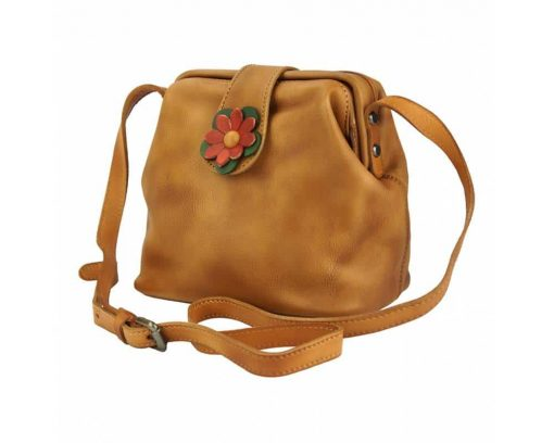 tan bag with flower Eleonora woman