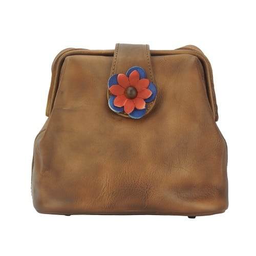 buy italian Cross body bag with flower Wanda Colour brown for woman
